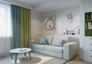 Apartment project in pastel tones