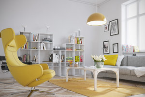 YELLOW ELEMENTS BRING LIFE TO THIS PROJECT