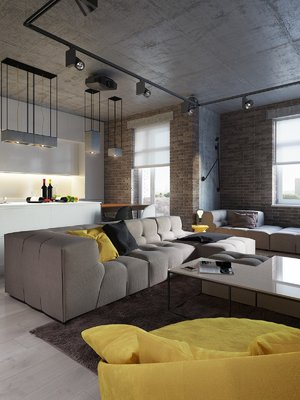 NEUTRAL APARTMENT WITH VIBRANT YELLOW TOUCHES